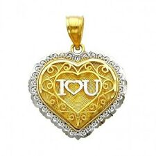 I Love You Filigree Heart Charm Real 14k Two Tone Gold Pendant No Chain Necklace