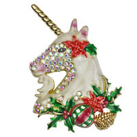 Kirks Folly Holiday Magic Unicorn Christmas Pin Pendant (Goldtone) w/Gift Box