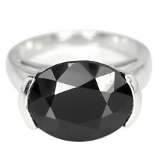 NATURAL AAA BLACK SPINEL 13X10 MM. OVAL STERLING 925 SILVER RING SIZE 6.5