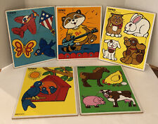 Lot of 5- Vintage Playskool Wooden Puzzles (1980-1982)
