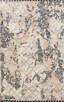 Geometric Moroccan Oriental Modern Handmade Area Rug Wool Oriental Carpet 5'x8'