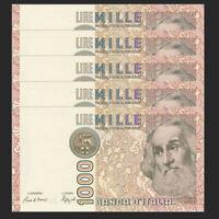 Lot 5 PCS, Italy 1000 1,000 Lire, 1982, P-109, UNC