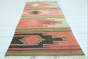 "Turkish Sivas Small Kilim Doormat, Bathmat, Small Area Rug, Carpet Tapis 39""X65"""