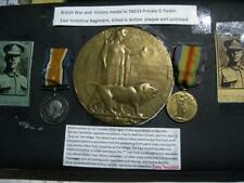 More details for medals   wwi pair to pte  g parkin  kia  with plaque  e yorks regt