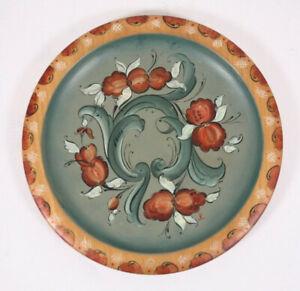 "Folk Art Rosemaled Floral Paint Toleware Signed JK on 8"" Munising Vtg Wood Plate"