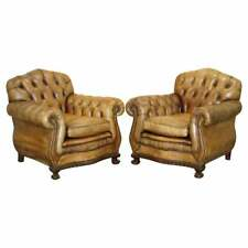 PAIR OF RESTORED AGED BROWN LEATHER CHESTERFIELD CLUB ARMCHAIRS CLAW & BALL FEET