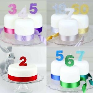 Birthday Cake Candle any Number 0 1 2 3 4 5 6 7 8 9, 22 Amazing Glitter Colours