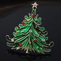 Crystal Clip Jewelry Tree Christmas Rhinestone Pin Vintage Coat Cap Brooch