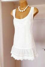 FAT FACE White Broderie Anglaise Boho Gypsy Summer Holiday Blouse Top Size 16 18