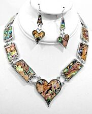 Abalone Heart Necklace and Earring Set
