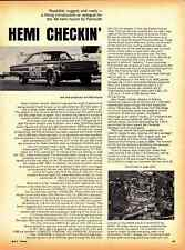 1966 PLYMOUTH STREET HEMI ~ ORIGINAL 2-PAGE ENGINE ARTICLE / AD