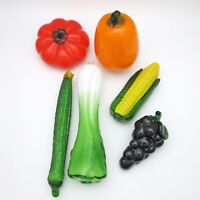 Glass Decorative Vegetables Set of 6 Artificial Fruit Sculpture Hand Blown