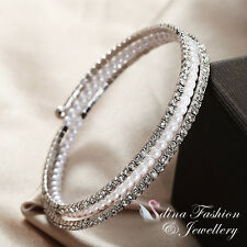 18K White Gold Plated Simulated Diamond & Pearl Sparkle 3 Rows Stretch Bangle
