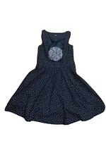 H & M Womens Size 12 Fit & Flare Polka Dot Dress With Large Flower