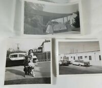 Lot of 3 Vintage Photos from the 1950's w/Nice Antique Cars People Buildings