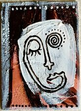 Acrylic ACEO painting/abstract art/abstract face/outline face/modern art/faces