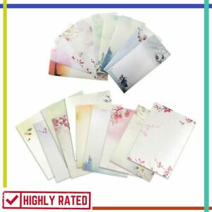 NUIBY 64 Pcs Letter Writing Stationery Paper Letter Set 32 stationery Paper + 32 Envelopes Ink Painting Classic Vintage Antique Design
