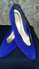 """Magdesians ladies purple suede 2"""" wedge shoes with gold trim"""