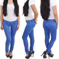 Damenhose Skinny Röhrenhose Hüfthose Stretchhose Slim Fit Hose Sommer Blau