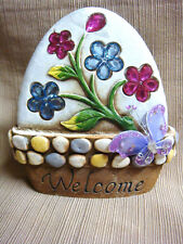 New WELCOME Garden Art Cement Stone JEWELS FLOWERS & BUTTERFLY