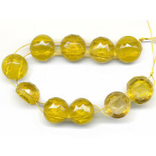 Vintage Nailhead Beads 13mm Faceted Domed Topaz Glass 2 Holes Circa 1920s