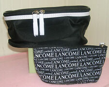 2 Pieces Lancome Black white Trim Soft Train Case & Printed Cosmetic Make Up Bag