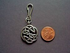 New Antique Silver Alloy Round Celtic Knot Charm Zipper Pull Backpack Clip