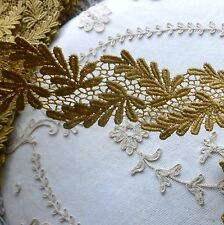 Vintage Cotton Lace Gold Ferns