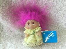"""Thomas Dam Troll Doll  3.5"""", With tag. Yellow lace dress. Pink hair"""