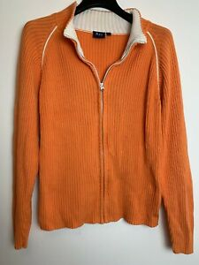 BAY Vintage 90s 00s Y2K Orange Knit Collared LongSleeve Cardigan Jumper Size L