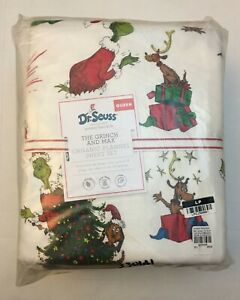 Pottery Barn Kids Flannel Dr Seuss The Grinch & Max Christmas Queen Sheet Set