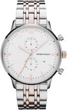NEW EMPORIO ARMANI AR0399 SILVER WHITE CHRONOGRAPH MEN'S WATCH - BNIB