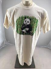 Vintage Bamboo Panda puffy paint IVORY Crewneck animal tshirt USA MADE ZOO XL