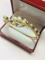 7Ct Vintage 14k Yellow Gold Over Blue Sapphire & Pearl Ladies Bangle Bracelet