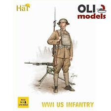 1/72 WWI US Infantry (80) Figures Set w/Machine Guns - HaT 8112