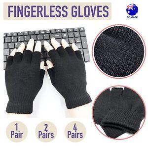 Black Fingerless Gloves Knitted Winter Warm Half Open Finger Soft Mittens Unisex