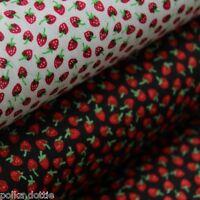 Strawberry Print Fabric Miniature Dolls House Fabric Blender 100% Cotton 3 Sizes