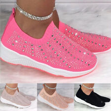 Womens Diamante Sock Trainers Sports Runing Sneakers Ladies Slip On Casual Shoes