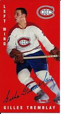 Autographed 1994 Parkhurst Tall Boy Gilles Tremblay Card #77 Montreal Canadiens