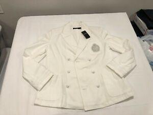 NWT $295.00 Lauren Ralph Lauren Womens Crested Blazer Jacket White Size 14