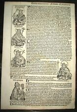 1493 INCUNABLE Ancient NUREMBERG CHRONICLE Leaf HISTORY Kings of Hungary POPES