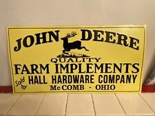 John Deere Quality Farm Implements Embossed Metal Sign Hall Hardware McComb Oh