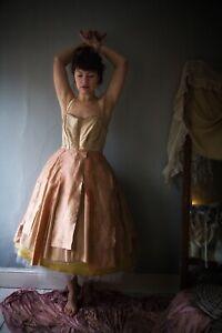 SAMPLE SALE: Silk Handmade Layers Tutu Prom Party Dress vintage DESIGNER 10 12