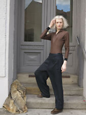schwarz weite Damenhose 90er TRUE VINTAGE 90s black wide woman pants summer