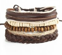 5Pcs Men Brown Adjustable Braided Leather Bracelet Set Wristband Cuff Bangle