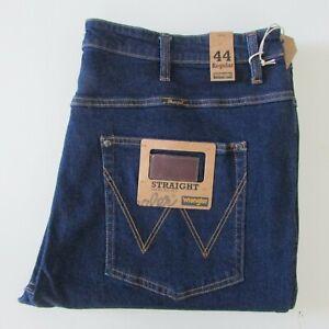 NEW Wrangler Jeans Size W44 L34 Men's Regular Straight Fit Dark Blue Denim