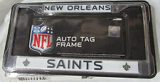 NFL New Orleans Saints Chrome License Plate Frame Thin Black Letters