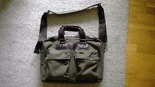 John Lewis & Co shoulder satchel briefcase green khaki and brown | laptop bag