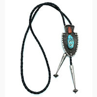 Vintage Navajo Sterling Silver Kingman Turquoise Red Coral Arrow Head Bolo Tie