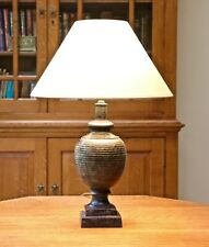 Rochamp aged bronze baluster table lamp - New shade